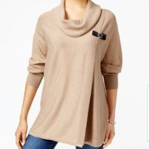 Jm Collection Tan Cowl Neck Buckle Sweater